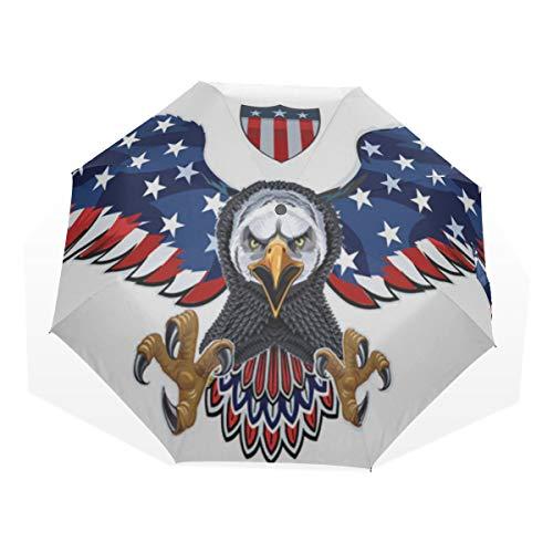 Reiseregenschirm American Symbol Eagle Mit Usa Flaggen Anti Uv Compact 3 Falten Kunst Leichte Faltbare Regenschirme (Außendruck) Winddicht Regen Sonnenschutz Regenschirme Für Frauen Mädchen Kinder