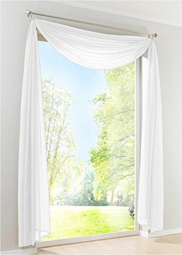 Yaland Voile Transparenter Freihandbogen einfarbig Uni Querbehang Wohnzimmer Gardinenschals (BxH 140x500, weiß) 1 Stück