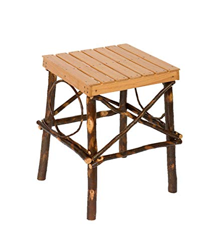 Peaceful Classics Rustic Hickory End Table | Square Wood End Tables Amish Furniture for Living Room Home Decor