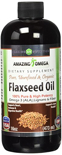 Amazing Omega Flaxseed Oil Dietary Supplement 16 Fl Oz Excellent Source of Omega 3s - Supports Heart Health, Joint Health, Immune System Health, Digestive Function