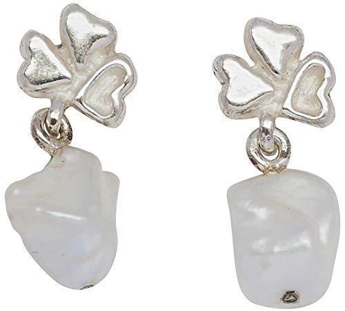 WormsRose im RosenGarten mit Herz - Ohrringe Ohrstecker Ohrhänger Schneeflocke mit Keshiperle für Damen 925 Sterling-Silber