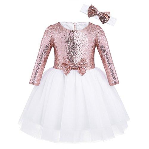 Agoky Vestidos Tutu con Lentejuelas Niñas Manga Larga Elegante Vestido de Princesa Fiesta para Bodas Cumpleaños Dama de Honor con Diadema Oro Rosa 5-6 años