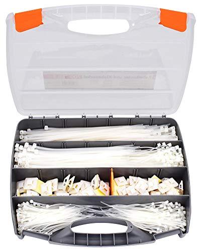 Tifler Kabelbinder und Klebesockel Set im Koffer, 700-Teiliges Sortiment