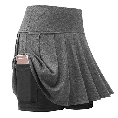SGODDE Women's Tennis Skort Athletic Skirt Tennis Skirts Pleated Skirts with Pocket Gray 2XL
