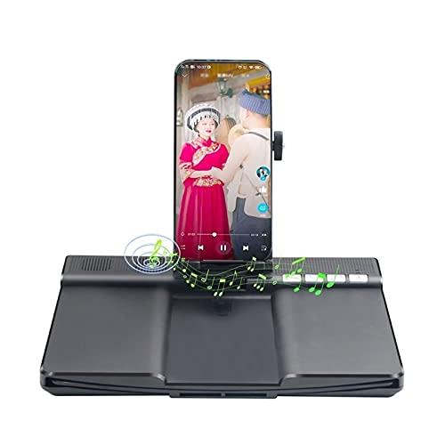 KHUY Soporte para Movil, Pantalla para Moviles Lupa 12in Amplificador Pantalla Movil, HD 3D Pantalla Amplificador Smartphone con Altavoz Bluetooth, Soporte Movil Mesa Plegable