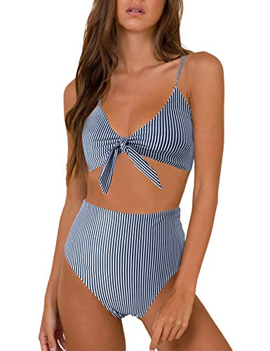 Blooming Jelly Womens High Waisted Bikini Set Tie Knot High Rise Two Piece Swimsuits Bathing Suits (Medium, Black White Striped)