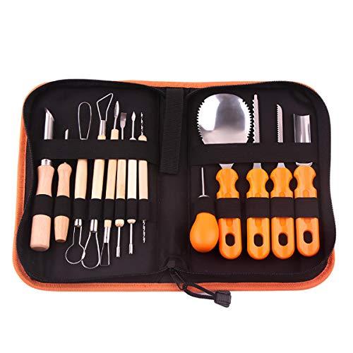 Juego de 13 piezas de acero inoxidable Halloween calabaza talla esculpir herramienta kit fiesta decoración popular