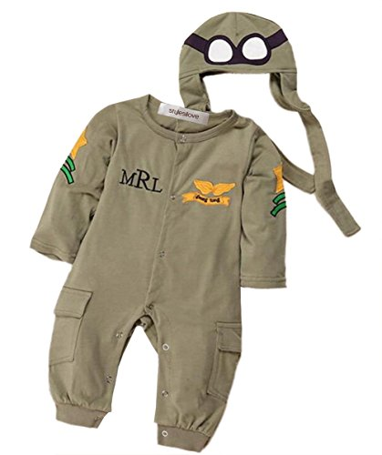 StylesILove Infant Toddler Baby Boy Army Air Force Baby Romper and Hat 2-pc Costume (80/6-12 Months) Green