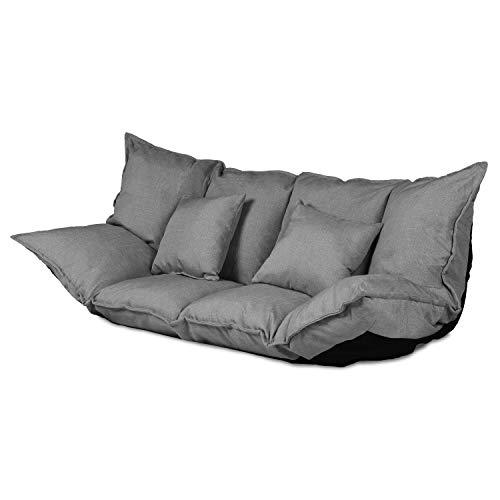 Ribelli 2 Sitzer Hikui Futon Schlafsofa im Japanischen Stil Sofa mit Schlaffunktion 100 x 150 cm (Sofa, grau)