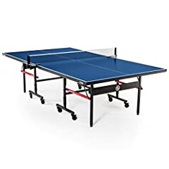 "Competition-ready indoor table tennis table perfect for your home or office 10-minute QuickPlay design comes 95% preassembled out of the box for quick and easy setup Effortlessly roll and transport table halves using 3"" lockable casters for convenien..."