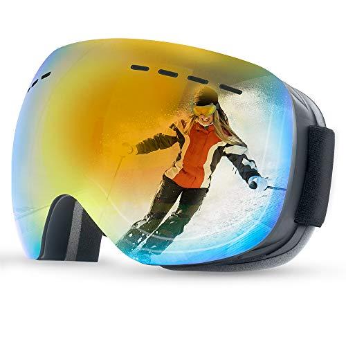 Anyue skibril voor dames en heren, brildragers, skibril, frameloze snowboardbril met dubbele lens, UV-bescherming, anti-condens, sneeuwbril, spiegelend skibrillen