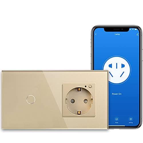 BSEED Interruptor de Luz Inteligente Alexa Wifi 1 Gang 1 Vía con Inteligente Enchufe Schuko de Vidrio Vertical Empotrado (Se Necesita Cable Neutro) 157mm Oro
