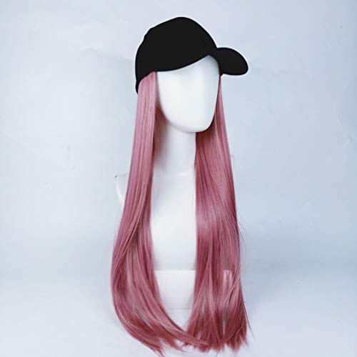 "XIAOWEIBA Haar-Verlängerung Perücke mit Baseball-Mütze synthetische Haar-Extensions-Kappen-Haar-Perücken 24\"" Lange gerade angebaute Black Hat für Frauen,Rosa"