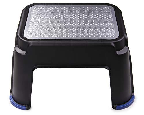 Ondis24 Tritthocker Step Stool mit Gummi Antirutschschutz bis 150 kg belastbar (schwarz/Alu)