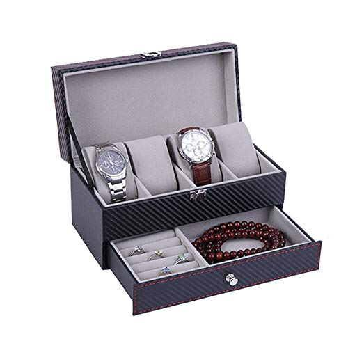 DHUYUN Watch Box 4 Watch Storage Box 2 Layers Organizer Collection Jewelry with Glass Lid Men Best Present (Color : Black, Size : S)