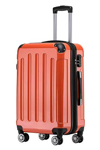 BEIBYE Zwillingsrollen 2048 Hartschale Trolley Koffer Reisekoffer Taschen Gepäck in M-L-XL-Set (Orangen, XL)