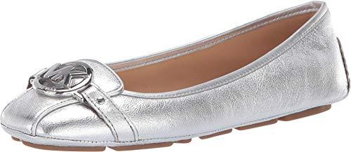 Michael Michael Kors Fulton Moc Metallic Silver Leather Flat Shoes (6.5)