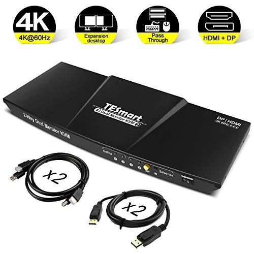 TESmart DisplayPort + HDMI 4x2 Dual Monitor KVM Switch 2 Port Updated 4K@60Hz
