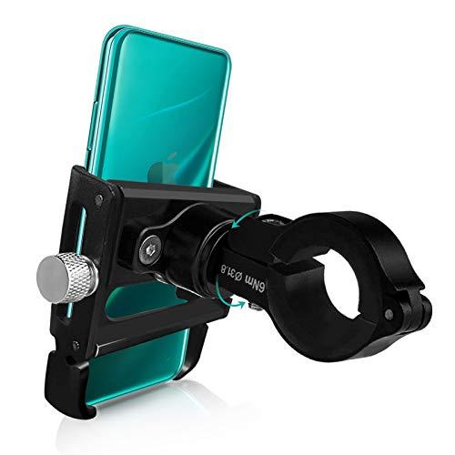 Handyhalterung Fahrrad Aluminium, 360° Drehbar Handyhalter Motorrad Scooter Smartphone Halterung für iPhone 12 Mini/12 Pro Max/11/11 Pro/Xs Max/X/XR/8/7, Samsung S10/S9/S8, Huawei usw.