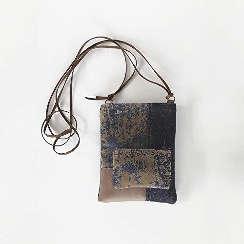 Mini-Denim-Umhängetasche, kleines Taschenset und Geldbörse, braune Tasche für Frauen,