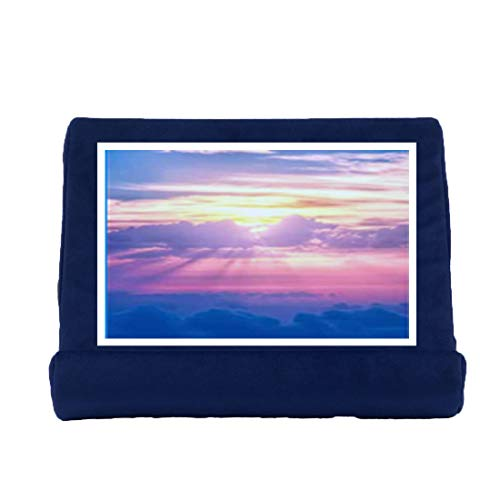 Multi-Angle Soft Tablet Pillow Stand for iPad, Phone Pillow Lap Stand Tablet Stand Ultra-Soft Pillow Holder, with Small Pockets for iPad, Electronic Book Reader Magazines and Tablet (Navy blue)
