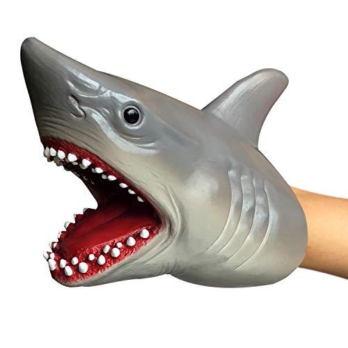 KELIWOW Shark Hand Puppet Realistic Soft Rubber Shark Toy for Kids Boys Girls Shark Head Glove Toy (1 Pack)