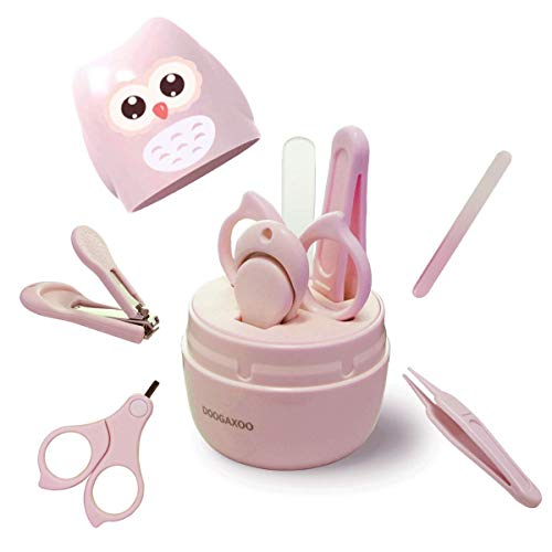 baby nail clippers Baby Nail Clippers, 4-in-1 Safe Baby Nail Kit with Cute Case, Nail Clipper, Scissors, Tweezers, Baby Nail File Set for Newborn, Infant, Toddler and Kids-Pink