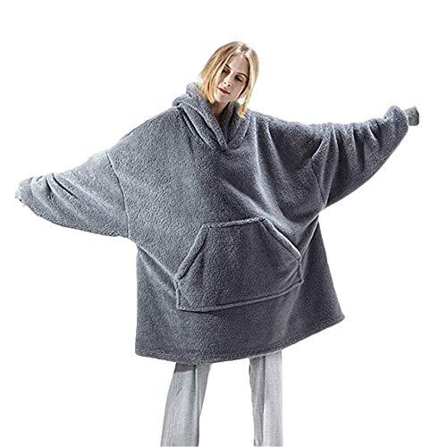 TRISTIN Sherpa-Flausch-Sweatshirt-Decke, warm, gemütlich, übergroß, tragbar, Taschen-Decke, Kapuzenpullover für Erwachsene, Damen, Herren und Jugendliche, Einheitsgröße