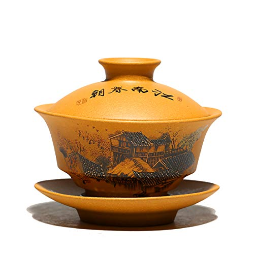 MULHUE Hand-painted yixing tea cup,Chinese Traditional Teaware Zisha Porcelain Gaiwan Kungfu Tea bowl with Lid and Saucer-135ml46oz