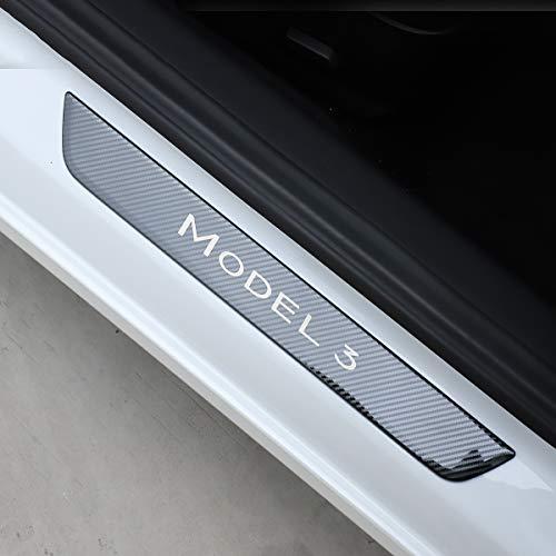 Barra De Umbral De Coche para Tesla Model 3 2017-2019 Umbrales De Puerta Pegatinas Tirantes Guardia Placa De Desgaste Bienvenido Pedal Protector Pegatinas Accesorios