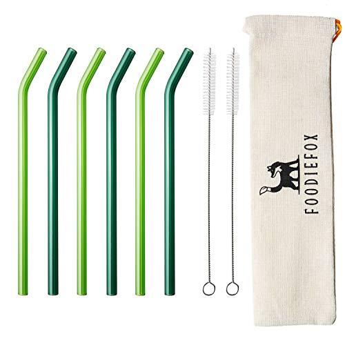 Foodiefox Glas Strohhalme Wiederverwendbar 6er Set, Nachhaltige Strohhalme Ohne Plastik, Trinkhalme mit Reinigungsbürsten und Aufbewahrungsbeutel