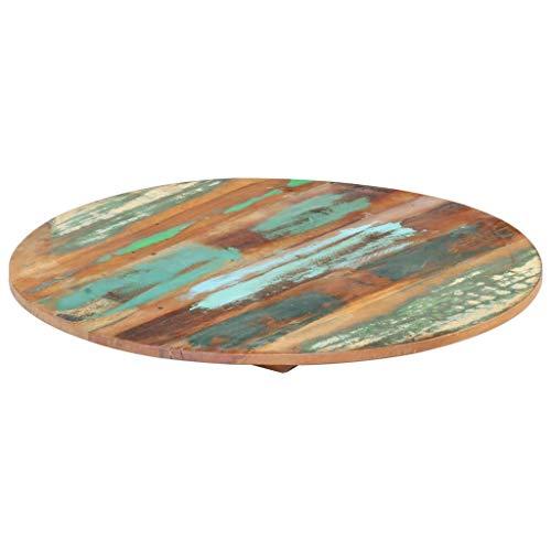 UnfadeMemory Tischplatte Holztischplatte Arbeitsplatte aus Recyceltes Massivholz DIY Ersatztischplatte für Beistelltisch Stehtisch Konsolentisch Esstisch (Dicke 15-16 mm, Rund 40 cm)