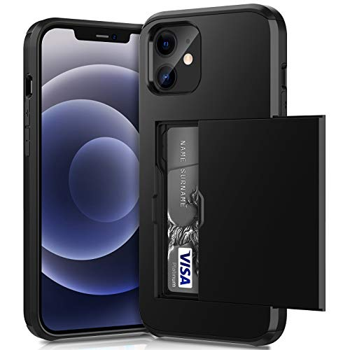 ACOCOBUY Funda para iPhone 12 Pro, a prueba de golpes, funda protectora para iPhone 12 y iPhone 12 con tarjetero de doble capa, carcasa de goma para iPhone 12 Pro de 6.1 pulgadas, color negro
