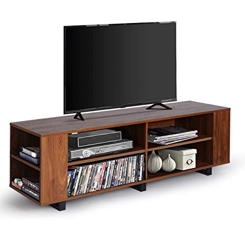 """LYNSLIMTV Stand - 59"""" Fully Open Entertainment Center Console for TV's up to 65"""" Flat Screen Living Room Storage Cabinet, 8 Shelves &Metal Base(Dark Walnut)"""