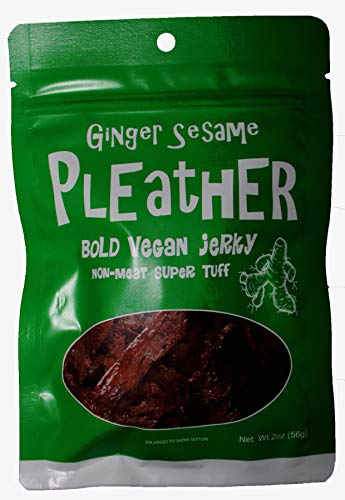 Ginger Sesame Seitan Vegan Jerky 2 Oz - Hand Made - Savory Extra Tough Texture