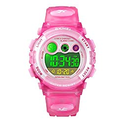 small Birthday gifts for girls 6-12 years old Pink Kids Digital Sports Waterproof Alarm Clock …