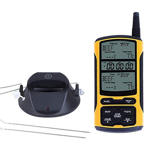 Huante Termómetro de control remoto digital con doble sonda de 5 colores de retroiluminación para cocina, termómetro de comida con función de temporizador