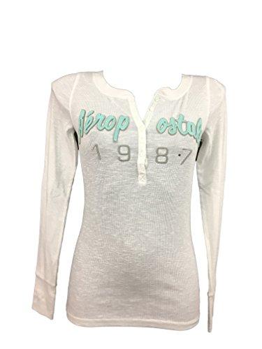 Aeropostal Henley - Camiseta de manga larga para mujer Bianco M