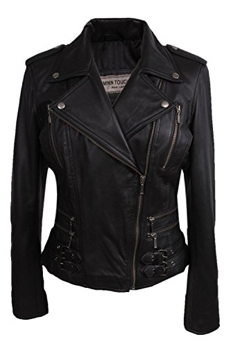 BRANDSLOCK Damen Echtes Leder Biker Jacke (Medium 10, schwarz)