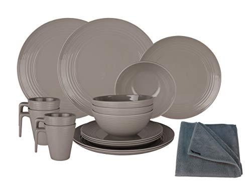 HEKERS Vajilla de 100% melamina Seramika Latte/Gris – Juego de 16 piezas para 4 personas / 1 x paño de microfibra gris Hekers para exteriores, picnic, camping, apto para lavavajillas