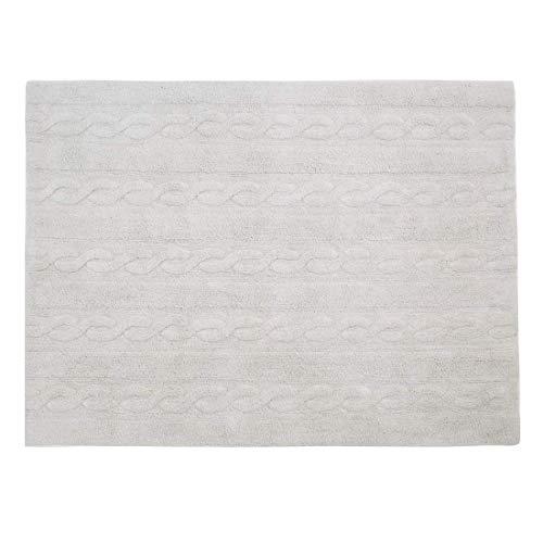 Lorena Canals Alfombra Lavable Braids Pearl Grey Algodón Natural - Gris Perla - 120x160 cm