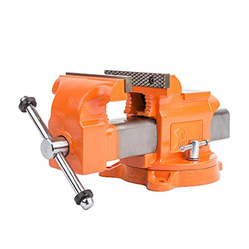 Forward 5-Inch Bench Vise Ductile Iron with Channel Steel and 360-Degree Swivel Base HY-30505-5In (5')