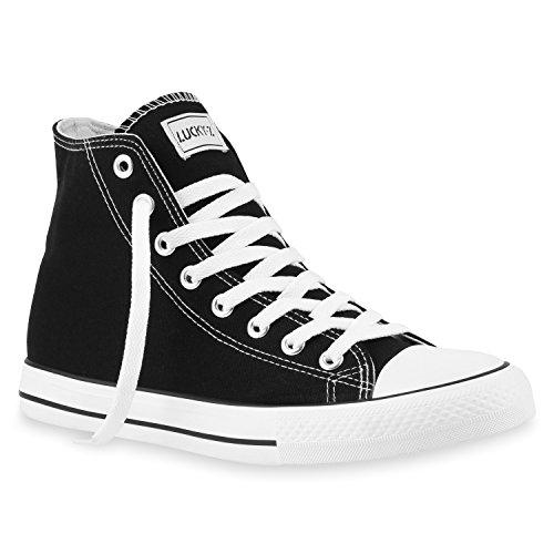 stiefelparadies Herren High Top Sneakers Sportschuhe Stoffschuhe Freizeit Schuhe 142806 Schwarz Ambler 45 Flandell