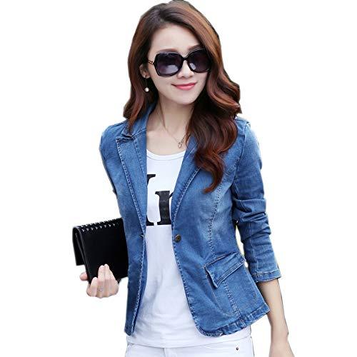 NZJK mode lente, herfst, korte jeansjas voor dames, blauw, lange mouwen, jeans, casual, dunne denim, bovenkleding voor vrouwen, basislegende jas, maat 3XL