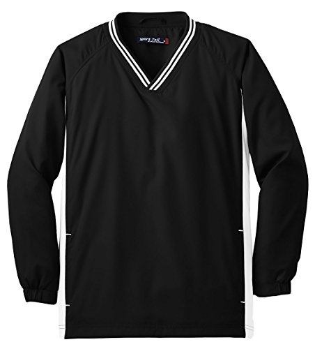 Sport-Tek Boys' Tipped V Neck Raglan Wind Shirt S Black/White