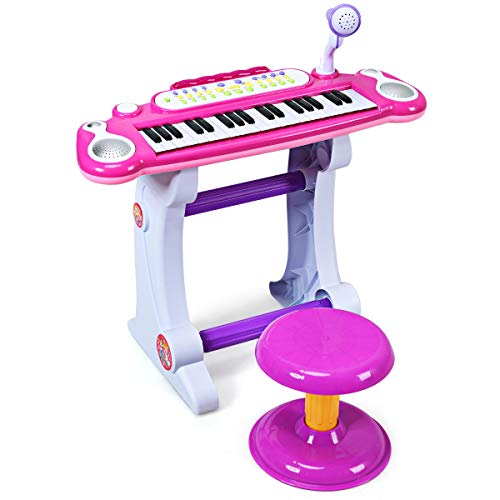 COSTWAY 37 Tasten Klaviertastatur mit Hocker, Kinder Keyboard mit Ständer, Klavier Spielzeug elektronisch, Musikinstrument mit Lichter, Aufnahme- und Abspiel-Funktion, inkl. Mikrofon (Rosa)