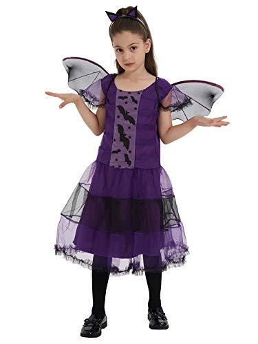 ShiyiUP Halloween Disfraces de Murciélago Vestido Diablo para Niñas 140