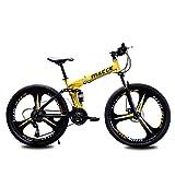 Jieer Bicicleta Montaña Adulto, Bicicleta de Montaña Plegable, Cuadro de Acero de 24'/26' Pulgadas, Cambio de Marchas de 24 Velocidades, Cambio Trasero Tourney, Amarillo, 24'