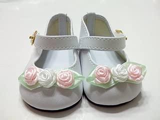 Rose Toe White Mary Jane Style Shoes.Fits 18