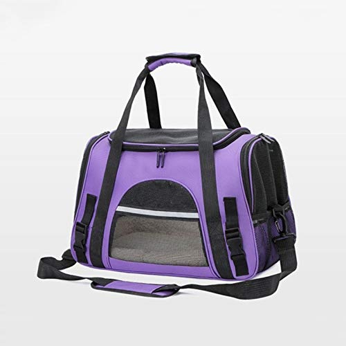 GQFGYYL Dog Cat Carrier Backpack, Portable Airline Approved Pet Supplies Bag with Breathable Mesh Travel Backpack Bicycle Vehicle Backpack,Purple